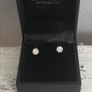 Diamond Cluster Earrings in 14kt White Gold .25ct